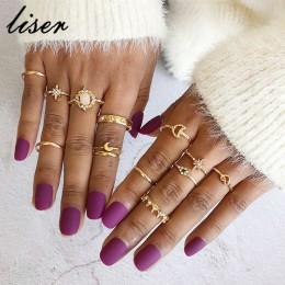 13 sztuk/zestaw w stylu Vintage gwiazda Opal kryształ palec pierścień zestaw czeski złoty księżyc korona pierścionki na środek p