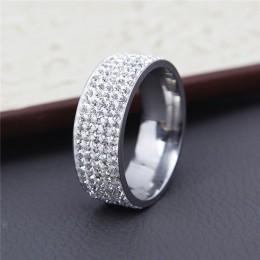 H: HYDE 5 rzędy linii jasny kryształ obrączki dla kobiet moda Rhinestone ze stali nierdzewnej kobiet nastolatek biżuteria anillo