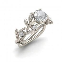 Klasyczny srebrny pierścionek damski delikatna obrączka w kształcie winorośli z cyrkoniami elegancki zaręczynowy