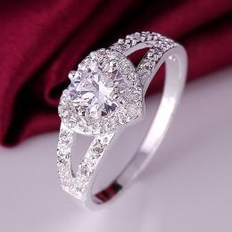 2018 wykwintne srebrny w kształcie serca obrączki cyrkon pierścień dla kobiet Bijoux Anel Femme pierścionek zaręczynowy komunika