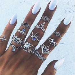 RAVIMOUR 7 styl w stylu Vintage Knuckle pierścionki dla kobiet Boho geometryczne pierścionek z kryształem w kształcie kwiatu zes