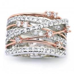 New Arrival srebrny różowe złoto cyrkon kamień pierścienie dla kobiet moda biżuteria pierścionek zaręczynowy ślub