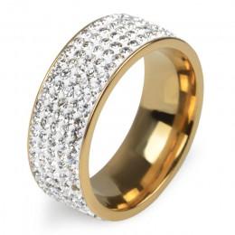 Chanfar 5 wierszy kryształowy pierścionek ze stali nierdzewnej kobiety dla eleganckich Full Finger miłość obrączki ślubne biżute