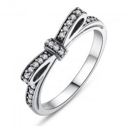 BAMOER gorąca 925 Sterling Silver błyszcząca kokarda pierścionek do noszenia warstwowego Micro Pave CZ dla kobiet prezent na Wal