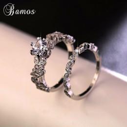 90% taniej! Bamos kobiet biały okrągły pierścień zestaw luksusowych 925 srebrny pierścień Vintage Wedding Band obietnica obrączk