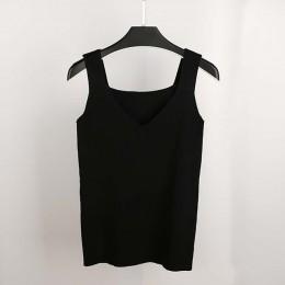 GOPLUS 2019 wiosna Crop Top dzianiny Tank topy kobiety Plus rozmiar rękawów Sexy V Neck T-shirt kamizelka kobiet Casual Camis st