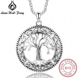 W stylu Vintage 925 Sterling Silver drzewa życia okrągły wisiorek naszyjnik kobiety biżuteria srebrna prezent urodzinowy dla bab