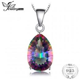 JewelryPalace 4ct prawdziwej Multicolor Rainbow ogień Mystic Topaz wisiorek gruszka czysta 925 srebro Brand New bez łańcucha