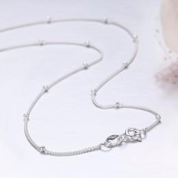 Modny elegancki naszyjnik damski delikatny długi cienki łańcuszek zdobiony drobnymi koralikami w klasycznym srebrnym kolorze