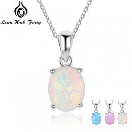 Kobiety 925 Sterling Silver wisiorek naszyjniki utworzono owalny biały różowy niebieski Opal naszyjnik urodziny prezenty dla żon