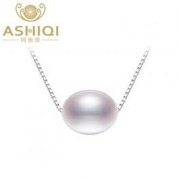 ASHIQI prawdziwe naturalna perła słodkowodna wisiorek naszyjnik dla kobiet z 925 Sterling srebrny łańcuch biżuteria