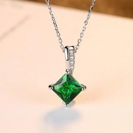 CZCITY Charm naszyjnik łańcuch szmaragdowo zielony cyrkonia popularny biżuteria 925 Sterling srebrny wisiorek naszyjnik dla kobi