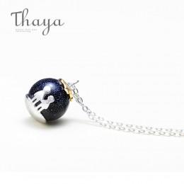 Thaya Party niebieski żwir kamień szlachetny wisiorek naszyjnik S925 Sterling Silver dzieci dzieciństwo naszyjnik dla kobiet Chi