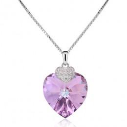Swarovski naszyjnik dla kobiet w kształcie serca w kształcie serca ametyst kryształ wisiorek naszyjnik Fine Jewelry naszyjnik ch