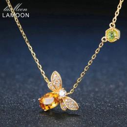 Modny pozłacany naszyjnik damski z pszczółką elegancka biżuteria z naturalnym kamieniem delikatny wisiorek