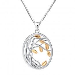 SA SILVERAGE 925 Sterling Silver drzewa życia wisiorek naszyjniki dla kobiet złoty kolor srebrny długi Maxi naszyjnik łańcuch Ch