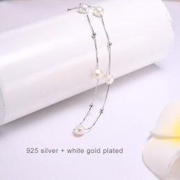 DAIMI srebrny naszyjnik 925 Sterling srebro prosty łańcuch pływająca perła naszyjnik z amuletem ślub wydarzenie Choker naszyjnik