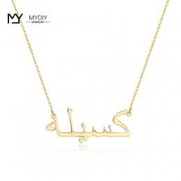 Arabski naszyjnik z tabliczki znamionowej 925 Sterling Silver Choker różowe złoto spersonalizowane nazwa wisiorek naszyjnik ślub