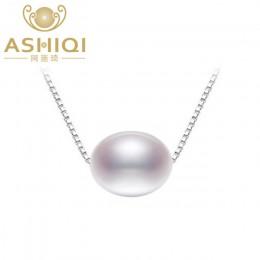 ASHIQI 925 sterling silver naszyjniki z pereł słodkowodnych wisiorek 7.5-8mm naturalne perły biżuteria dla kobiet prezent