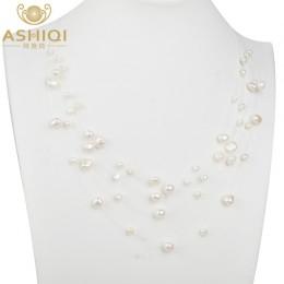 ASHIQI naturalne słodkowodne perła baroku naszyjnik z pereł kobiet 4-8mm 5 wiersze Bohemia Handmade biżuteria moda