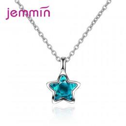 JEMMIN urocze wykwintne 925 Sterling Silver CZ wisiorek w kształcie gwiazdy naszyjnik wysokiej jakości austriackiej kryształ Big
