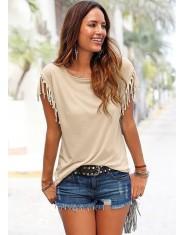 Kobiety bawełniany pompon luźna koszulka bez rękawów, jednolity kolor koszulki z krótkim rękawem O-neck kobiet odzież t shirt