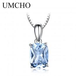 UMCHO stałe 925 Sterling Silver wisiorek naszyjnik kamień niebo niebieski Topaz naszyjnik romantyczne prezenty ślubne dla kobiet