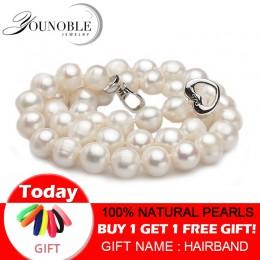 Prawdziwa perła słodkowodna naszyjniki kobiety ślub, biały choker naturalny naszyjnik z pereł biżuteria ze srebra próby 925 duży
