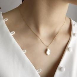 LouLeur 925 sterling srebrny barokowy pearl wisiorki naszyjnik prosta konstrukcja dziki elegancki urok naszyjnik dla kobiet w po