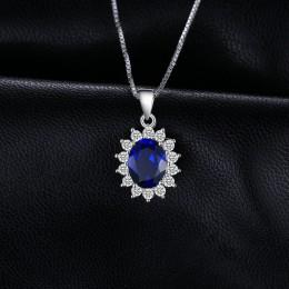 JewelryPalace 925 Sterling srebrne wisiorki naszyjnik owalny księżniczka Diana William wisiorek niebieski szafirowy wisiorek bez