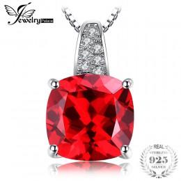 JewelryPalace 925 Sterling Silver 4.9ct sztuczny czerwony rubin wisiorek naszyjniki dla kobiet zaręczyny ślub biżuteria bez łańc