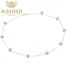 ASHIQI majątek 925 sterling silver naszyjnik 7-8mm prawdziwe naturalna perła słodkowodna naszyjnik White pearl biżuteria dla kob