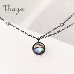 Thaya gwiazda planeta Space droga mleczna 100% s925 srebrny wisiorek naszyjnik Galaxy kryształ czarny łańcuch dla kobiet biżuter