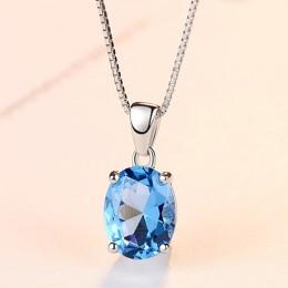 CZCITY niebo niebieski Topaz wisiorek 2.3 Carat owalny kształt Solitaire naturalny Topaz 925 Sterling Silver Chain naszyjnik dla
