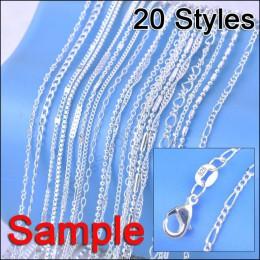 """JEMMIN próbki biżuterii zamówienie 20 sztuk Mix 20 stylów 18 """"oryginalna 925 Sterling Silver Link naszyjnik zestaw łańcuchy + ho"""