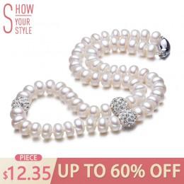 ZHBORUINI 2019 naszyjnik z pereł 925 Sterling Silver biżuteria dla kobiet 8-9mm Crystal Ball naturalne perły słodkowodne z pereł