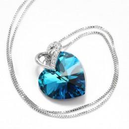 Warme Farben kryształ z Swarovski kobiety naszyjnik Fine Jewelry niebieski wisiorek w kształcie serca z kryształami naszyjnik pr