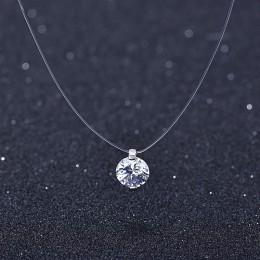 Lato 925 srebrny Stereo przezroczysta żyłka wędkarska stealth naszyjnik śnieżki kryształ z austriackiej zamki dla walentynki pre