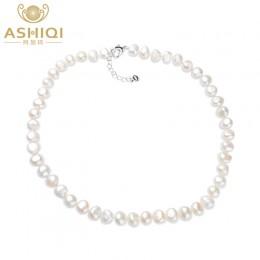 ASHIQI biały naturalny perła baroku naszyjnik z pereł 9-10mm prawdziwa perła słodkowodna biżuteria dla kobiet moda prezent
