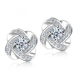 Jemmin kryształowe kolczyki 925 Sterling Silver węzeł kwiat stadniny kolczyki dla kobiet Brincos Bijoux biżuteria ślubna