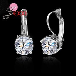 Gorąca sprzedaż 925 Sterling Silver biżuteria Shining Micro jasny kryształ srebrny klipsy dla kobiet Party cena fabryczna