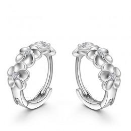 Najlepsza sprzedaż 925 Sterling Silver kolczyki tkane kwiaty kształt Hoop kolczyki wstaw CZ kryształ dość kolczyk na akcesoria ś