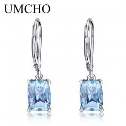 UMCHO oryginalna 925 Sterling Silver niebo niebieski Topaz kropla kolczyki elegancki kamień ślub zaręczyny biżuteria dla kobiet