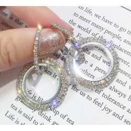 2019 nowy 925 igły srebrny rhinestone koło kryształ z austriackiej długie kolczyki temperament koreański osobowość dzikie kolczy