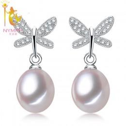Nimfa naturalne perły biżuteria wysokiej jakości kolczyki S925 sterling silver kolczyki słodkowodne czarne perły modny motyl E10