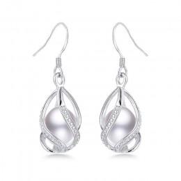 Naturalna perła słodkowodna spadek kolczyki dla kobiet elegancki 925 Sterling Silver kolczyki anty alergii DIY klatka biżuteria