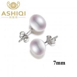 ASHIQI naturalna perła słodkowodna stadniny kolczyki dla kobiet prawdziwe 925 Sterling Silver biżuteria prezent