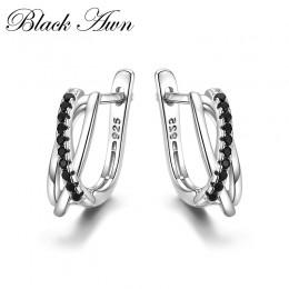 Klasyczne oryginalne 925 Sterling Silver biżuteria czarny Spinel kamień śliczne stadniny kolczyki dla kobiet Bijoux Femme Boucle