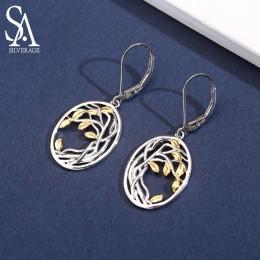SA SILVERAGE 925 Sterling Silver drzewa życia spadek kolczyki dla kobiety ze srebra próby 925 długie kolczyki kobiety żółty złot