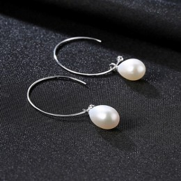 PAG & MAG nowa moda duże pół okręgu Earwire 925 Sterling srebrny spadek kolczyki dla kobiet grzywny słodkowodne perły betonowa b